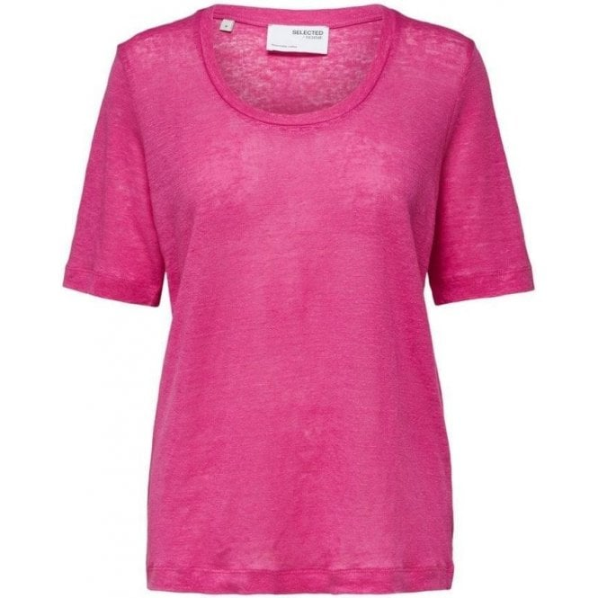 Selected Femme Thin Linen U-Neck T-Shirt