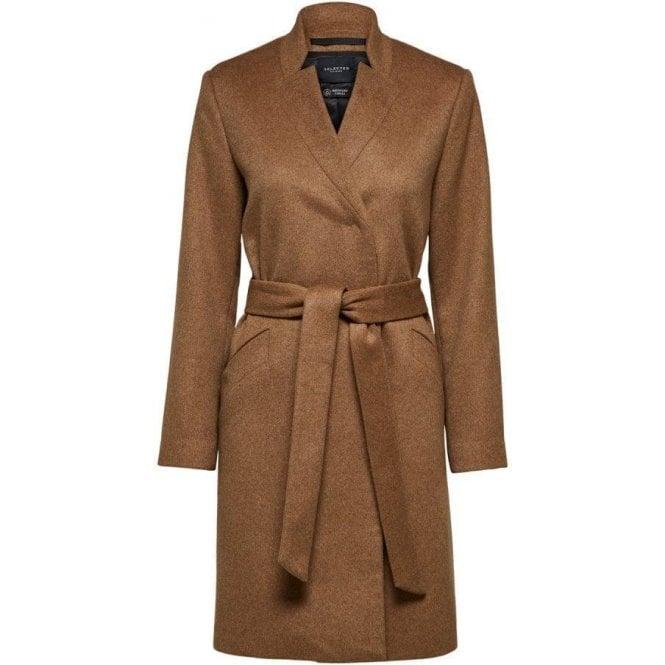 Selected Femme Waist Tie Wool Coat