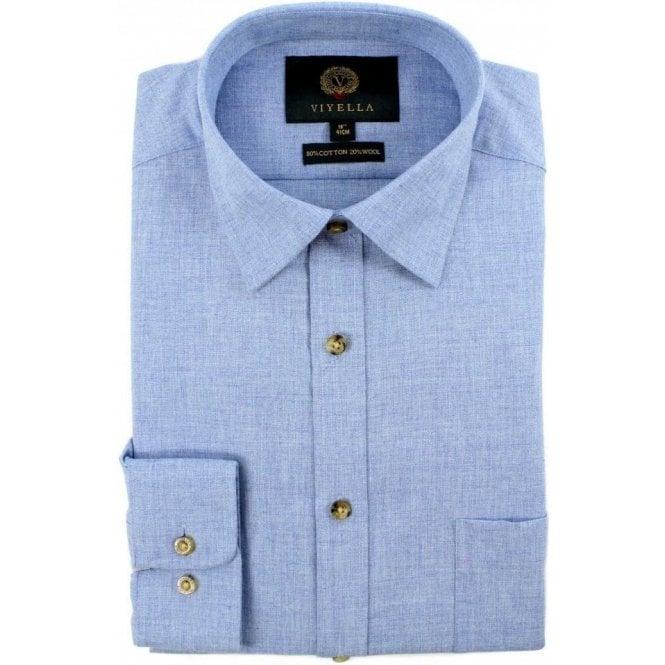 Viyella 80/20 Brushed Plain Light Blue Classic Fit Shirt