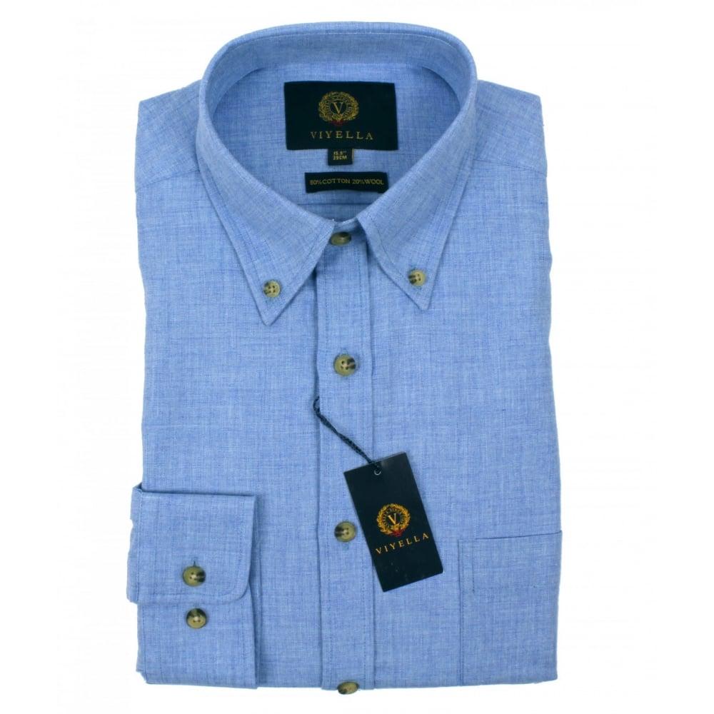 6d119ae295 Viyella Cotton Wool Blend Button Down Collar Shirt - Mens Shirts ...