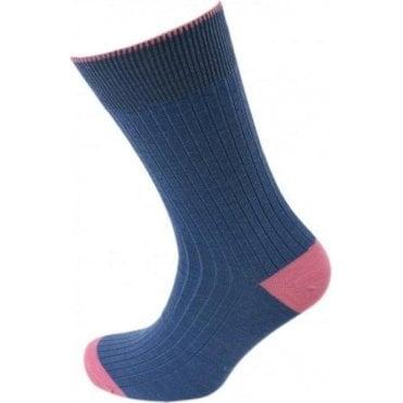 Short Wool Contrast Heel and Toe Socks