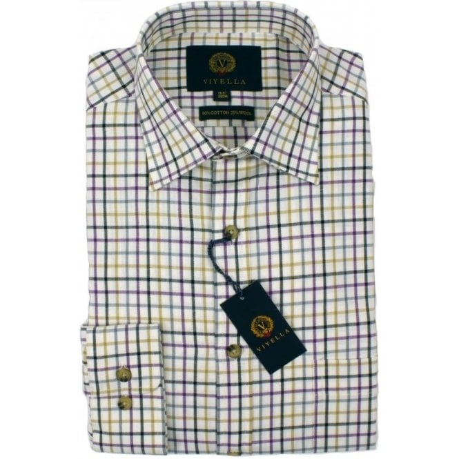 Viyella Tattersall 80/20 Cotton Wool Blend Shirt